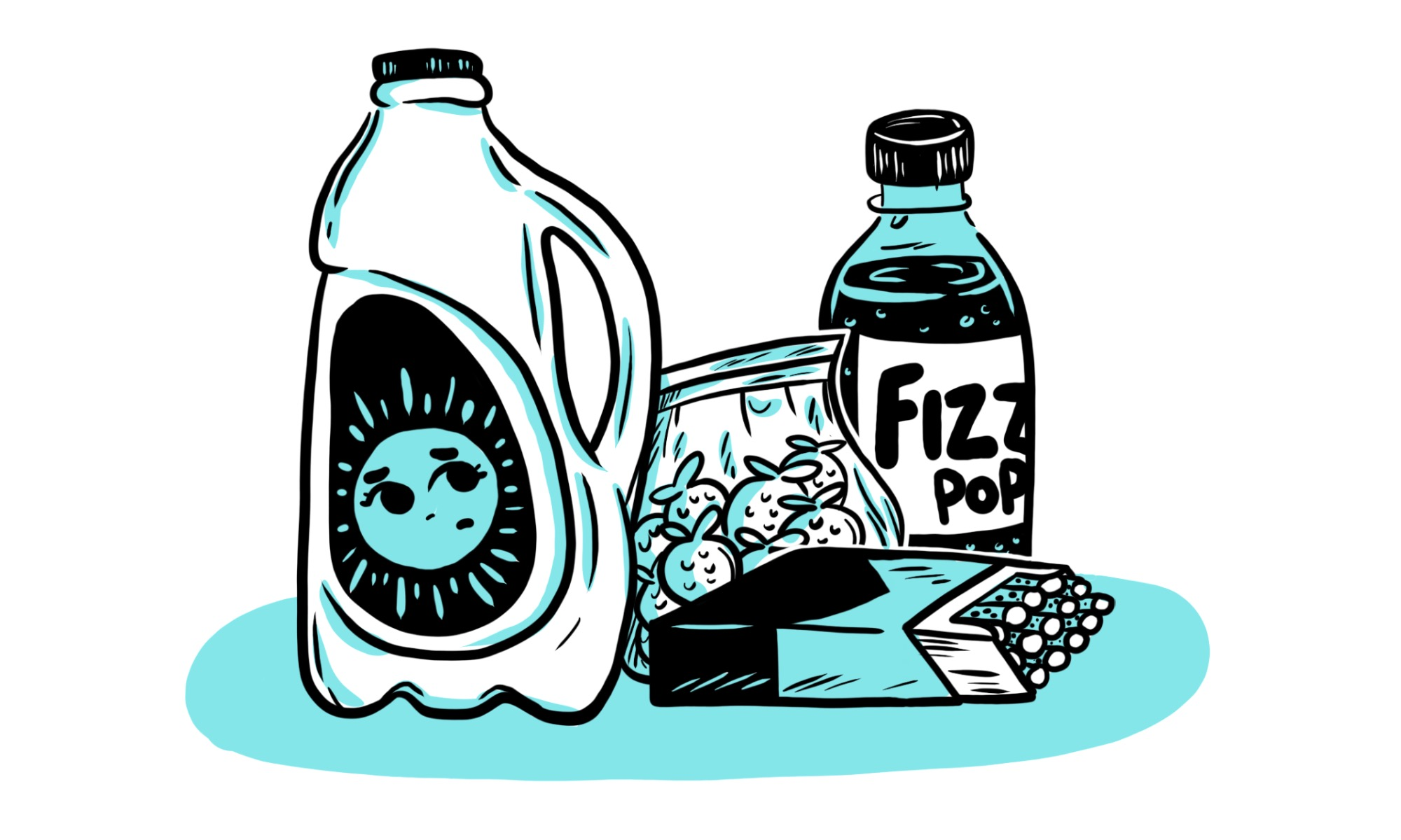 An illustration of common goods from a dairy: milk, lollies, fizzy drink, cigarettes. Illustration by Pepper Curry