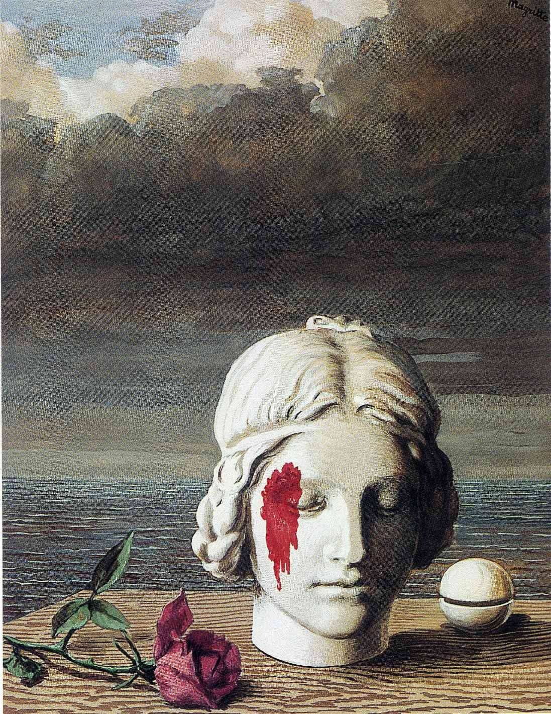 Another painting depicting the same scene, except with ever-so-slightly different placements of the objects. Rene Magritte - Memory, 1948.