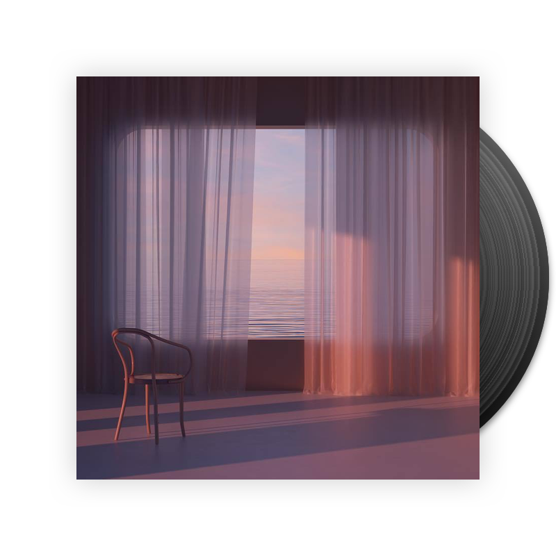 Album art depicting flowing curtains at sunset, with the ocean outside.