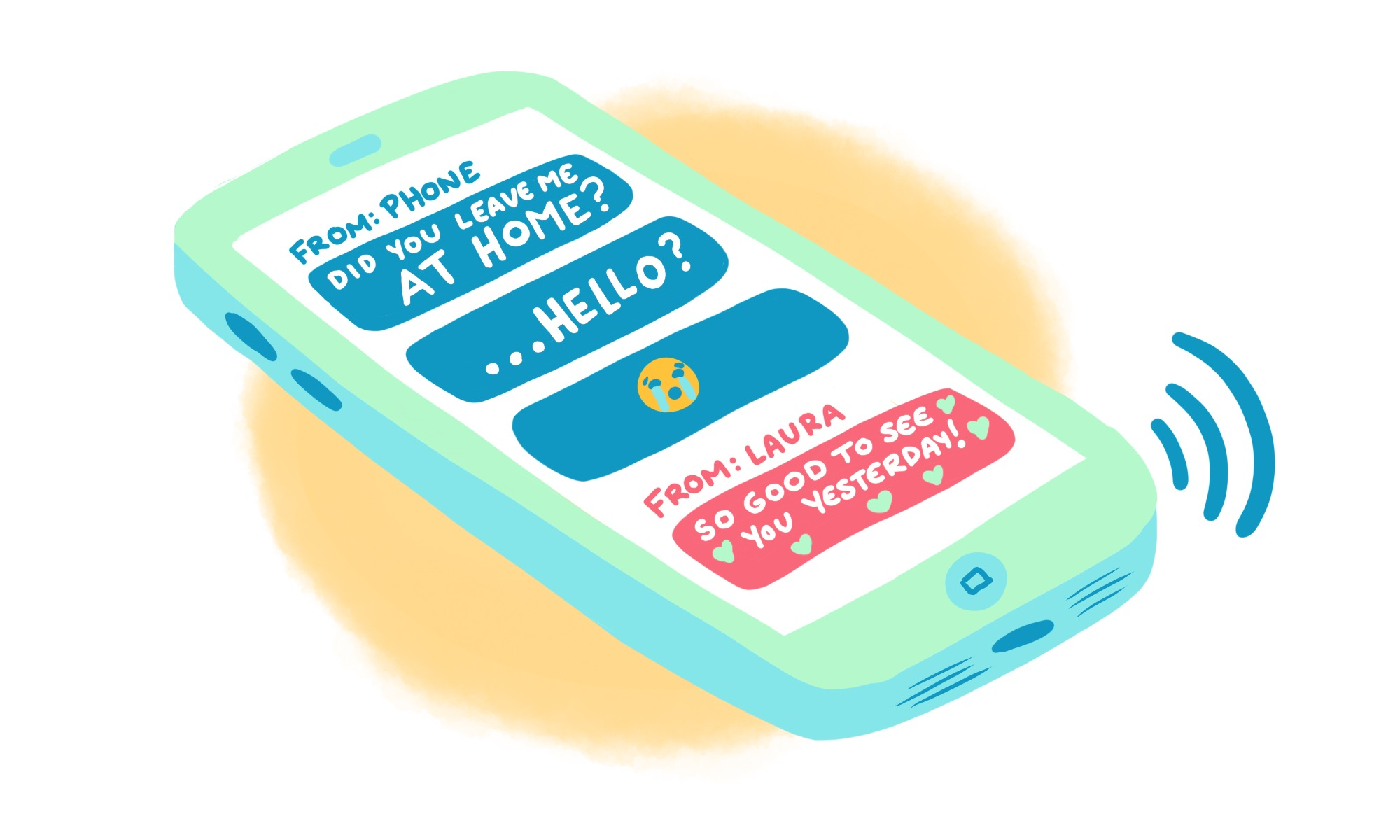 A sketch of a smartphone with unanswered messages. Illustration by Pepper Curry