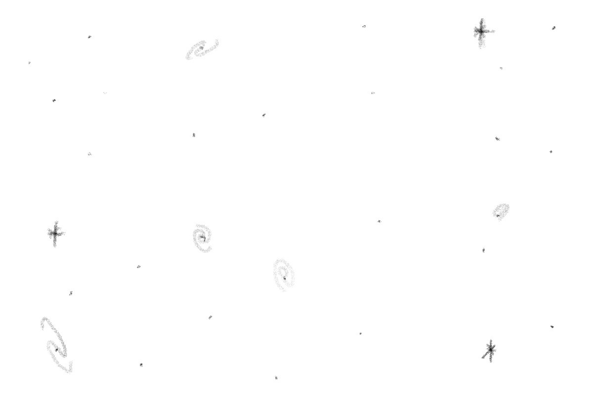 A drawing picturing stars and galaxies