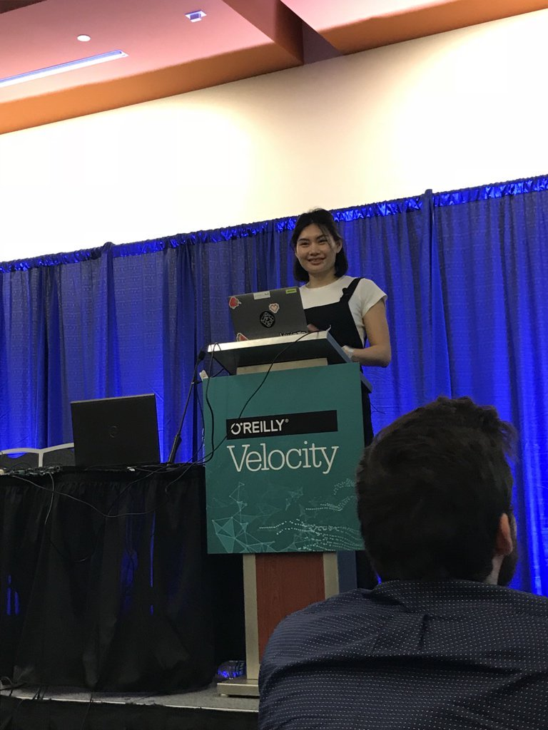 A photograph of me speaking at O'Reilly Velocity in 2018