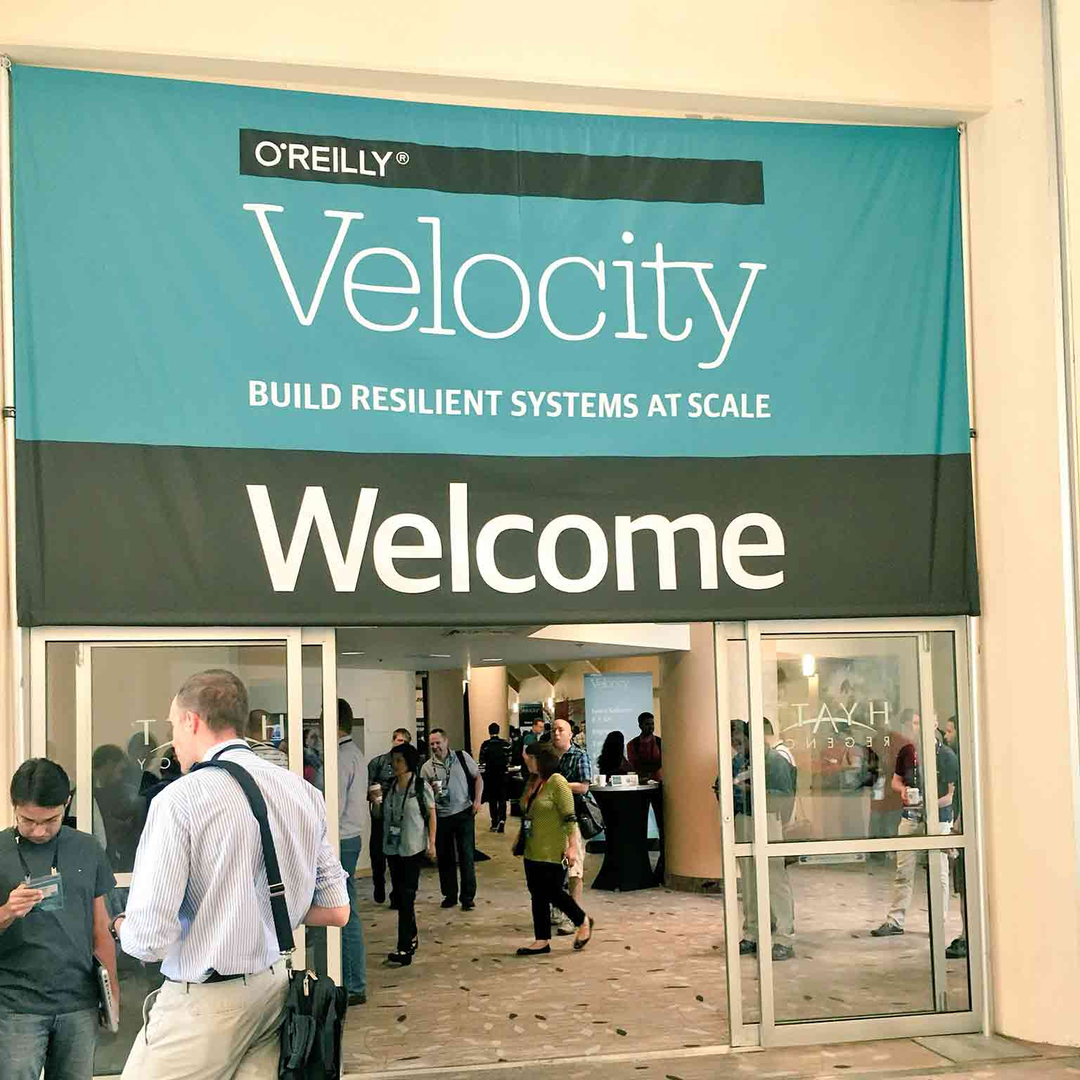 A photograph of the entrance to O'Reilly Velocity in San Jose
