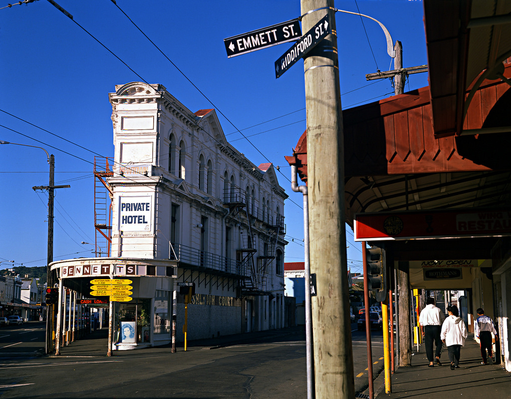 A photograph of Newtown, Wellington in the 1990s.